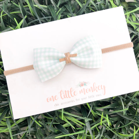 Mint Gingham HARLOWE Bow