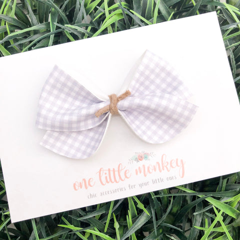 Gray Gingham JAMES Bow