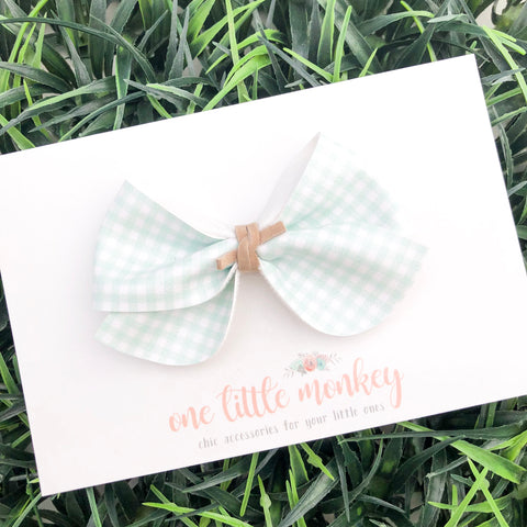 Mint Gingham JAMES Bow