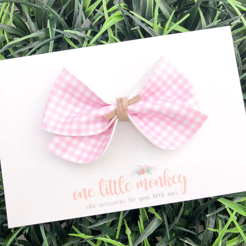 Pink Gingham JAMES Bow