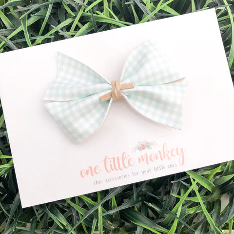 Mint Gingham KENNEDY Bow