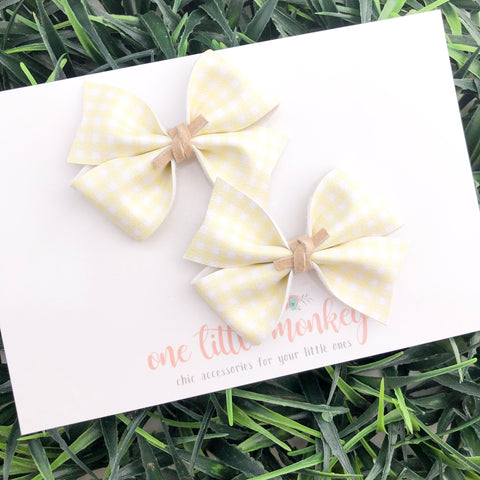 Yellow Gingham RAEGAN Bows - Set of 2 Piggy Clips