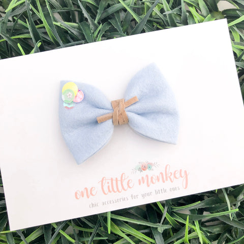 """Sassy"" Powder Blue Wool Felt MILLIE-MINI Bow"