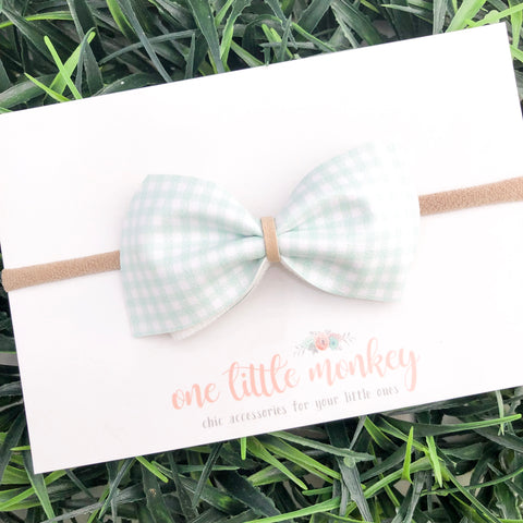 Mint Gingham ELLE Bow