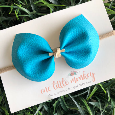 Ocean Blue Faux Leather ELIZA Bow