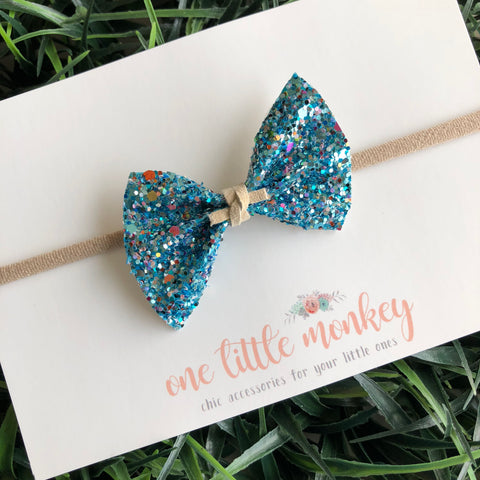 Blue Lagoon Glitter SUTTON Bow