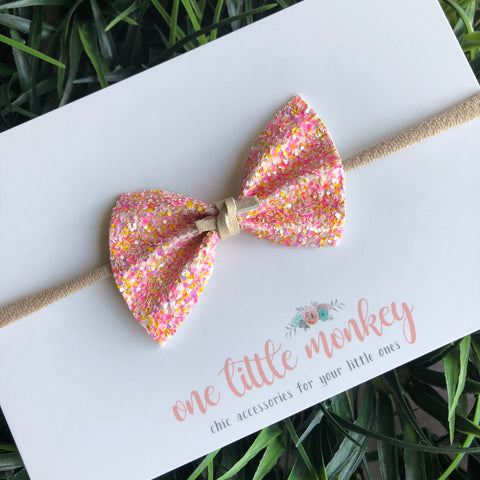 Pink Lemonade Glitter SUTTON Bow