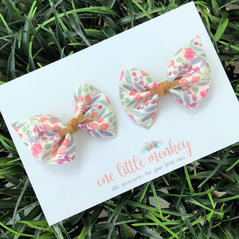 Watercolor Floral CHARLIE Bows - Set of 2 Piggy Clips