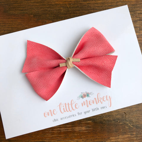 Coral Diamond Suede KENNEDY Bow