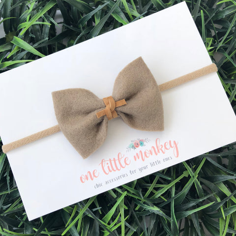 Taupe Wool Felt MILLIE-MINI Bow