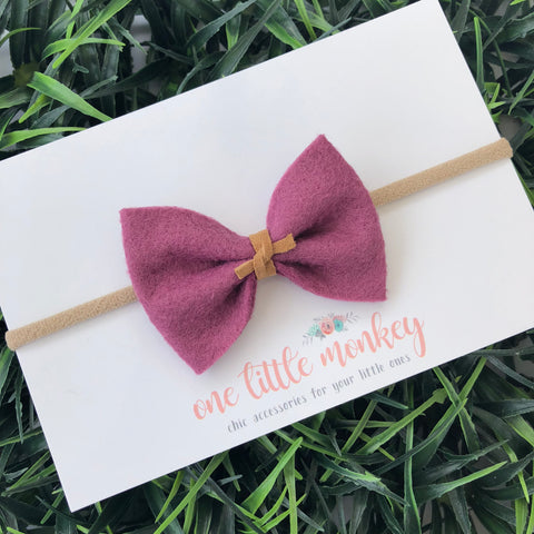 Plum Wool Felt MILLIE-MINI Bow