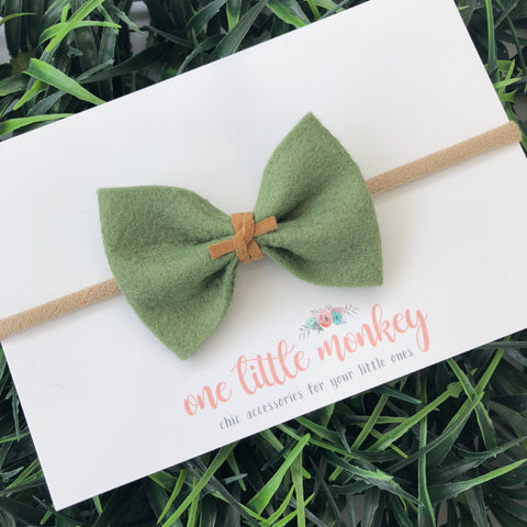 Moss Wool Felt MILLIE-MINI Bow