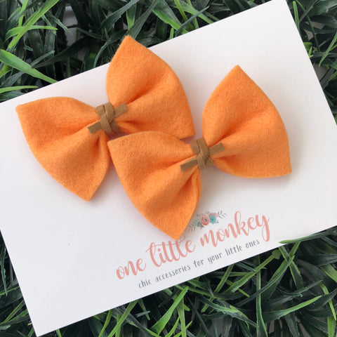 Apricot Wool Felt MILLIE-MINI Bow - Set of 2 Clips