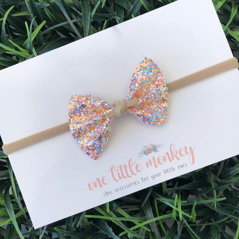 Georgia Peach Glitter SUTTON Bow