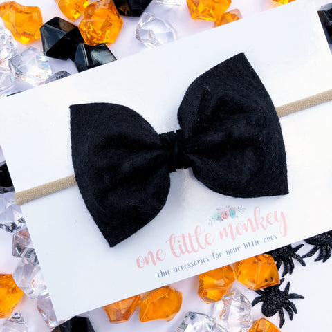 Black Cat Wool Felt MILLIE Bow