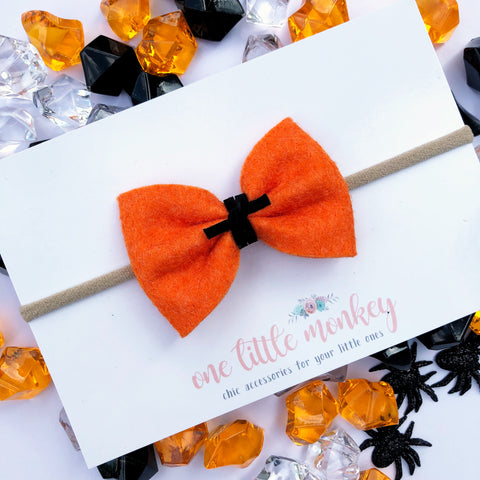 Jack O Lantern Wool Felt MILLIE-MINI Bow
