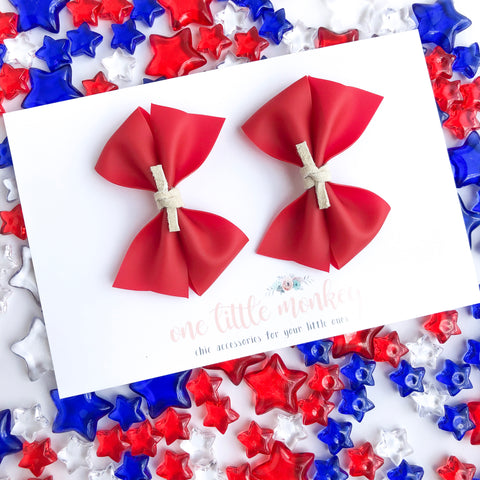 Red Jelly RAEGAN Bows - Set of 2 Piggy Clips