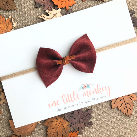 Burgundy Velour SUTTON Bow