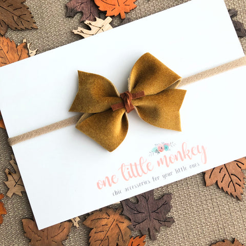 Mustard Velour RAEGAN Bow