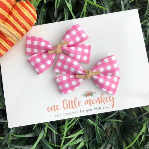 Pink Gingham GILLIE - Set of 2 Piggy Clips