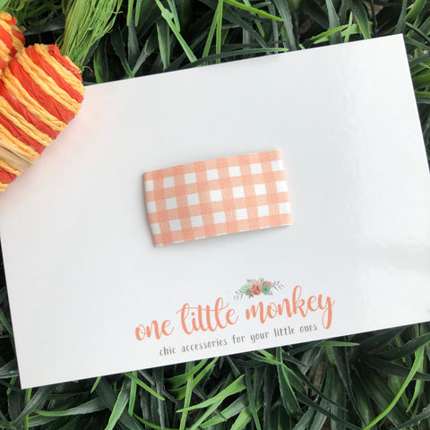 Peach Gingham SNAP CLIP