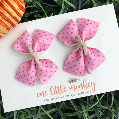 Pink Dots RAEGAN Bows - Set of 2 Piggy Clips