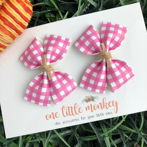 Pink Gingham RAEGAN Bows - Set of 2 Piggy Clips