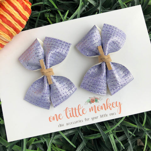 Lavender Basketweave RAEGAN Bows - Set of 2 Piggy Clips