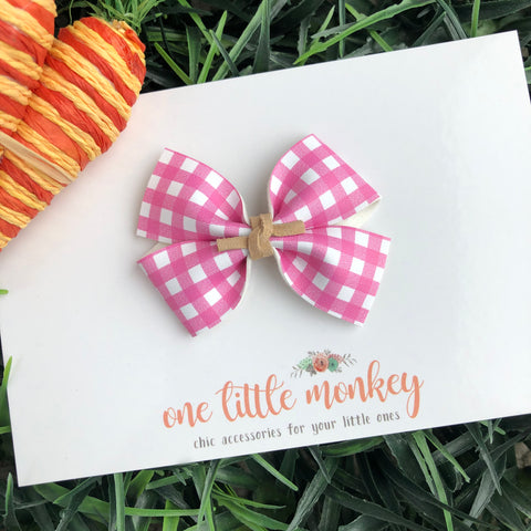 Pink Gingham RAEGAN Bow