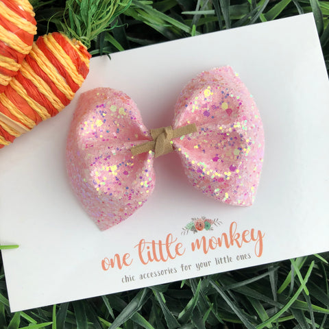 Carnation Pink Iridescent Sherbet MILLIE Bow