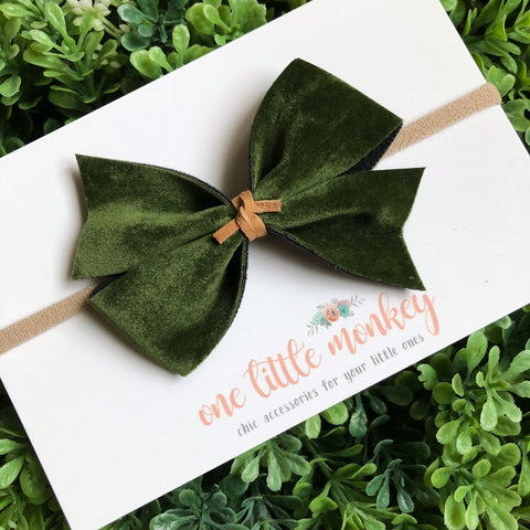 Olive Velour KENNEDY Bow