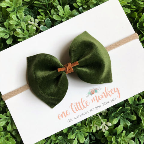Olive Velour MILLIE Bow