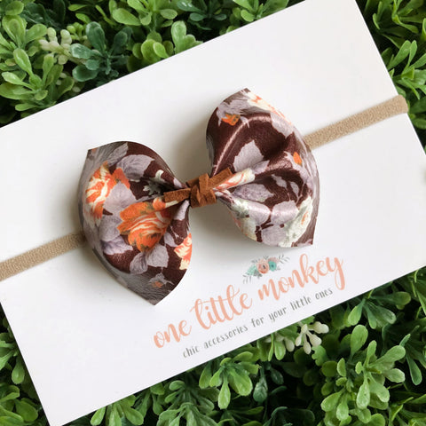 Chocolate Fall Floral MILLIE Bow