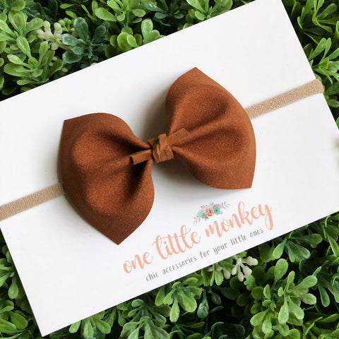 Cinnamon Stick Suede MILLIE Bow