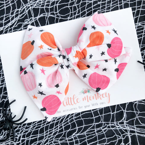 Pink Pumpkins Hand-Tied MADISON Bow