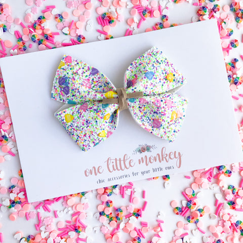 Conversation Hearts Chunky Glitter KENNEDY Bow