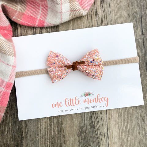 Georgia Peach Glitter GILLIE Bow