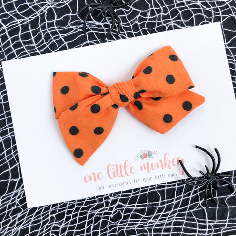 Orange + Black Dot Hand-Tied NORAH Bow