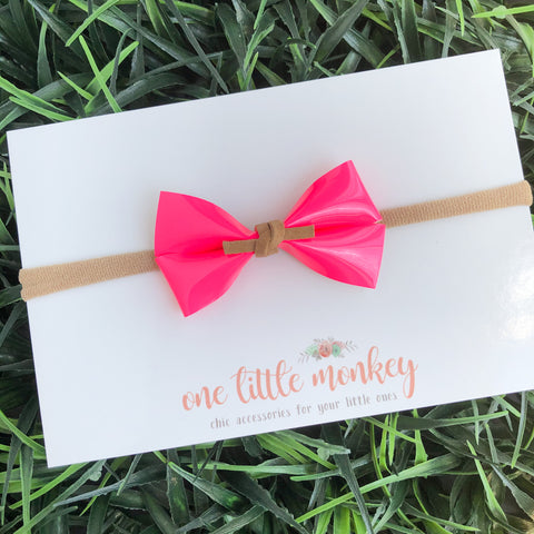 Neon Pink Patent GILLIE Bow