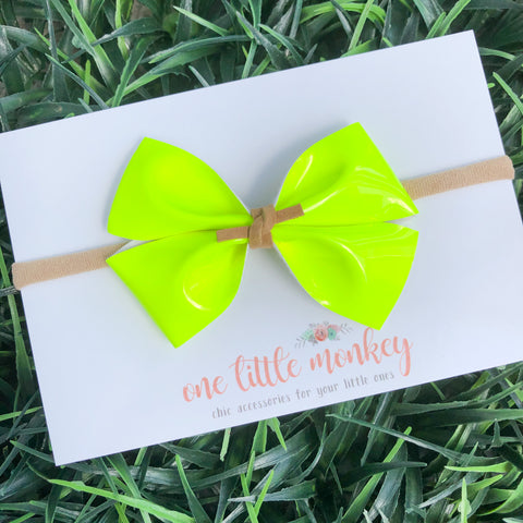Neon Yellow Patent KENNEDY Bow