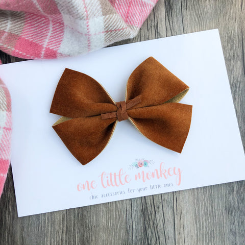 Caramel Velour KENNEDY Bow