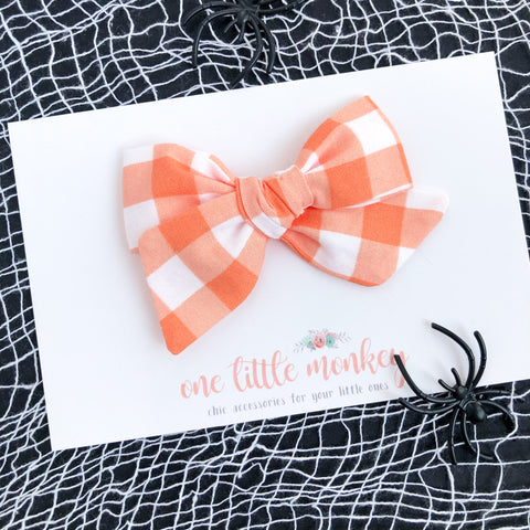 Orange Gingham Hand-Tied NORAH Bow