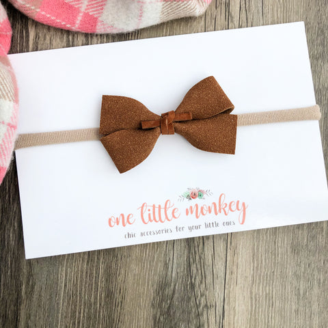Chestnut Suede GILLIE Bow