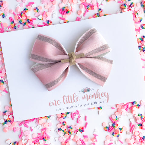 Pink Velour Stripe KENNEDY Bow