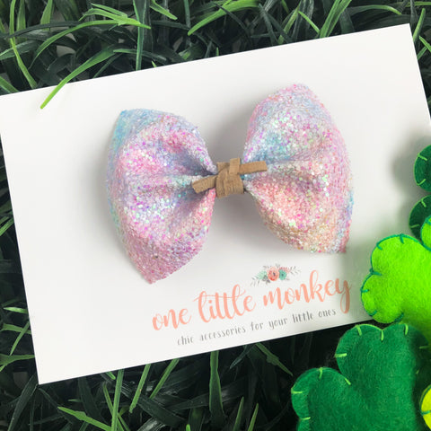 Pastel Watercolor Glitter MILLIE Bow