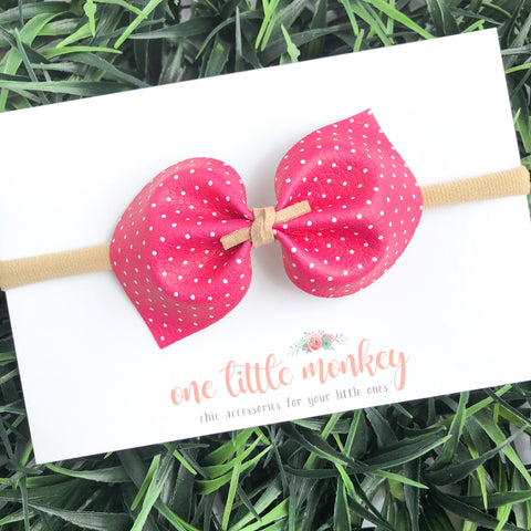 Hot Pink Dot DARCY Bow