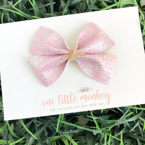 Pink Metallic Basketweave KENNEDY Bow