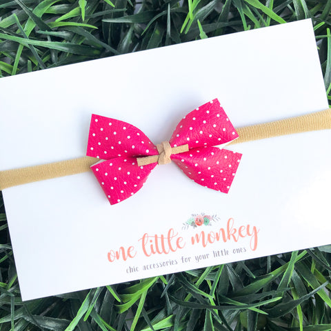 Hot Pink Dot GILLIE Bow