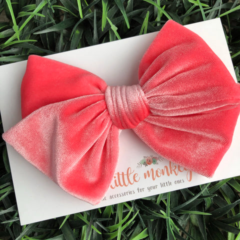 Coral Velvet Hand-Tied MADISON Bow