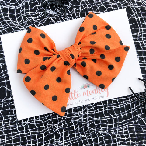 Orange + Black Dot Hand-Tied MADISON Bow